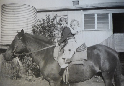 Jan and Trevor on Johnny at Eulowarra Farm, Marshall Mount. Circa 1949