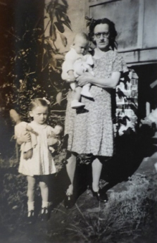 Margaret Smith, Janice and Trevor at Eulowarra farm, Marshall Mount. Circa 1948