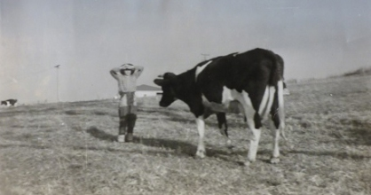 Trevor Smith on Eulowarra farm, Marshall Mount. Circa 1958