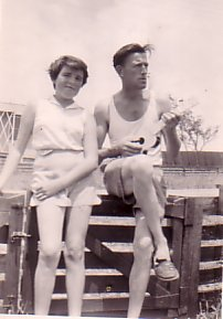 Einir and her father, Tad at 42 Mulda Street, ca.1953.