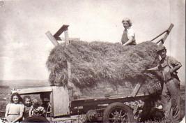 Jones family on hay wagon, Pen y Bwlch farm, Wales 1949