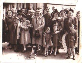 Last Farewells, Caernarfon railway station, May 1952. Einer front row, 3rd from left.
