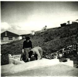 Lee Street house being built, 1957