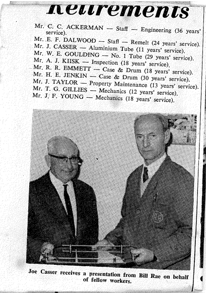 Frances and Mary's father Joe receiving an award at Port Kembla Steelworks
