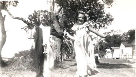 Joy and Irene clowning around, 1952