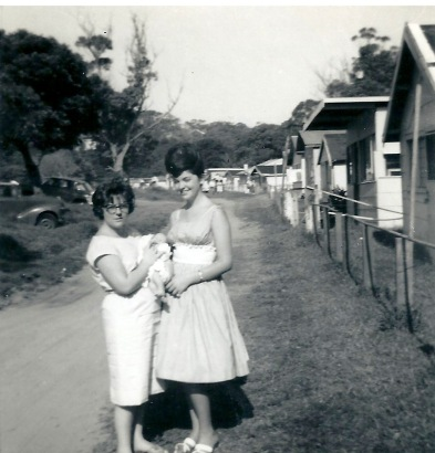 Row of shacks, Joy and Irene, December 1963