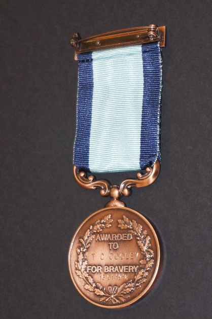 Medal awarded for bravery to Thomas Charles Cooley