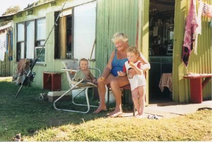 Joyce with her grandchildren