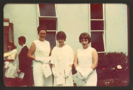 Nov 1965: classmates of Jeanette (Pepper) Bond at Wollongong Teacher's College Graduation Ball: Sue Tierney, Bev Sedgwick, Janette Buckle