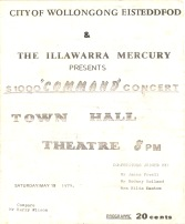 "City of Wollongong Eisteddfod $1000 ""COMMAND"" Concert flyer, May 19 1979"