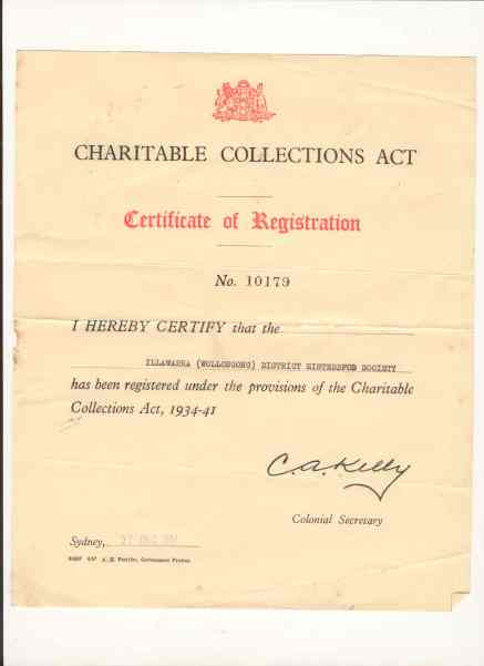 Certificate of Registration for Charitable Collections ACT, 27 Dec 1957