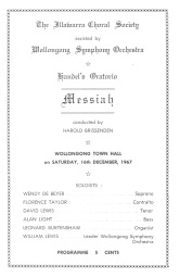 "16th Dec 1965, program for Illawarra Choral Society's performance of ""Messiah"""