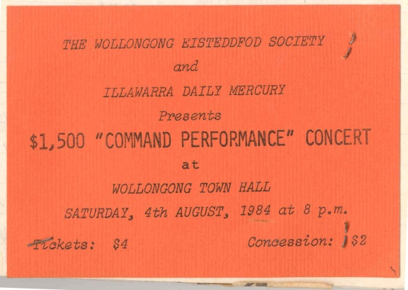 "City of Wollongong Eisteddfod $1500 ""COMMAND"" Concert ticket, August 4 1984"