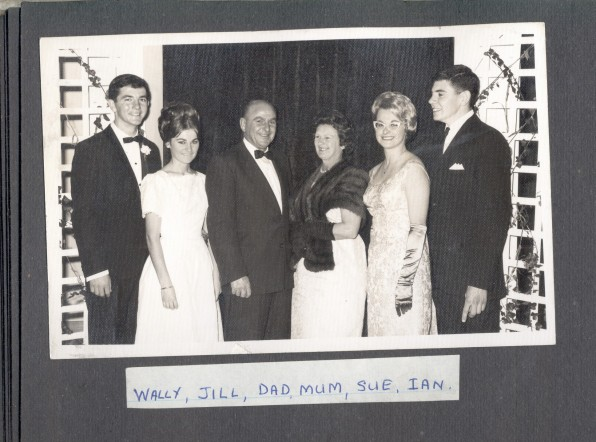 Sue's sister Jill Woolley makes debut at CYO Ball or YCW Ball. FROM LEFT Wally Pritchard, Jill Meehan, Sue's Father, Sue's Mother, Sue Meehan, Ian