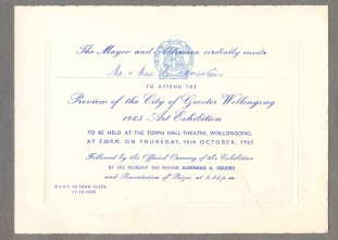 Invitation to 1965 Art Exhibition held in Wollongong Town Hall 14/10/1965