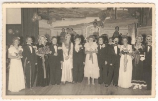 1960's: Crowd on stage at Fancy Dress Ball, probably Wollongong Ladies' Bowling Club