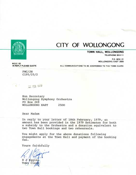 Letter from Town Clerk to Bessie Foskett re subsidies on bookings, 27th Feb 1979
