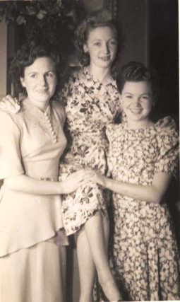 Marcia (Day) with Barron sisters, Marcia Barron on left, Valerie Barron on right