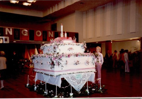 North Illawarra Garden Club Spring Floral Festival Display - Birthday cake flower arrangement Date: probably mid 70's