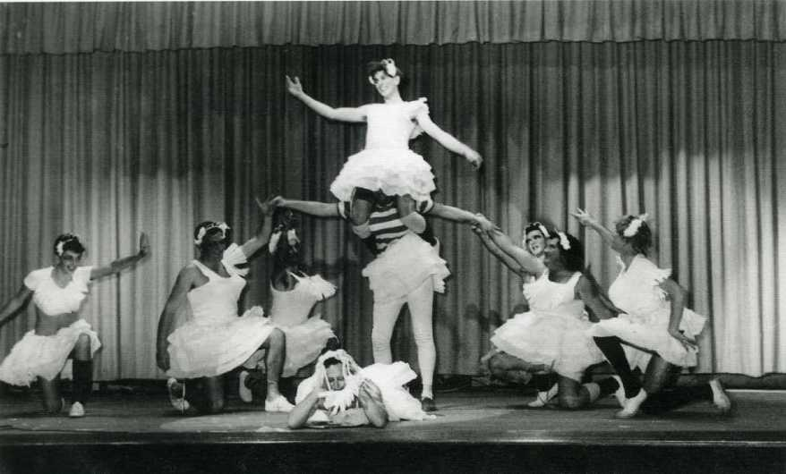 'Swan Like' men's Ballet scene in Council Concert Wollongong Town Hall. 1962 Men dressed up in ballet tutus on stage during performance, July 8 1962.