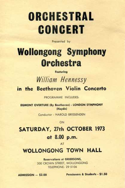 "Wollongong Symphony Orchestra ""Orchestral Concert"" flyer, 27th Oct 1973 Names: Ellis Fitzsummons Leader, Jim Powell, Stephen Zantiotes, Trudy Zalowski, Merion Powell at piano, Ada Rayner, Elaine Hohenhouse, Lyle Dobbins, Mona Scott, Lester Tate, Fred Rose"