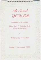 YCA Ball Program front of 10th anniversary YCA Debutante Ball Program, Date: 11th Aug 1967