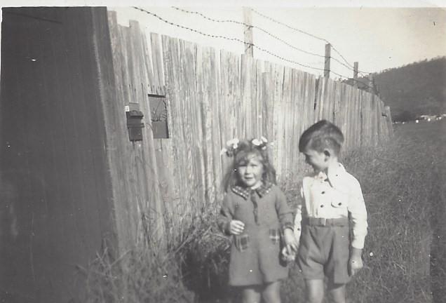 Judith Barnett and Brian Murphy outside 3 Corinda Road Woonona - 1946