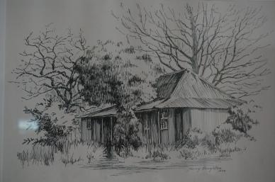 Original McNamara House, drawn by Terry Houghton, 1978